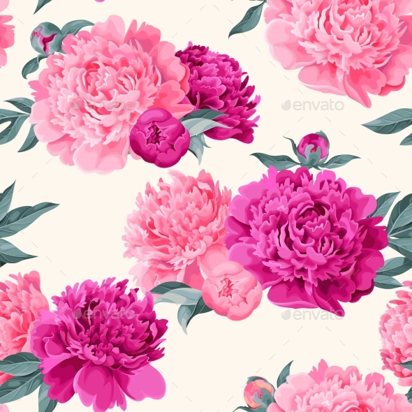 Seamless Varicolored Peonies - Flowers & Plants Nature