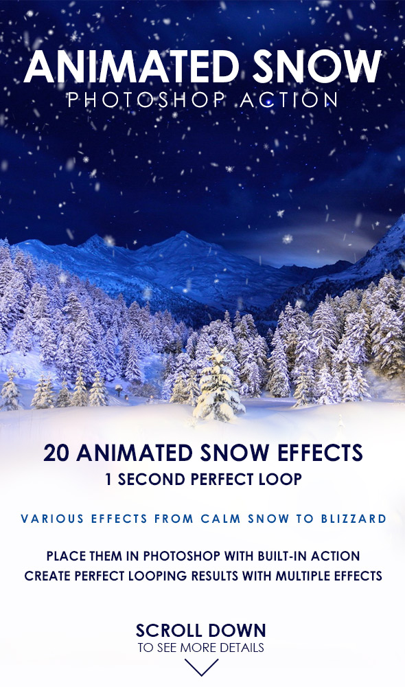 Animated Snow Photoshop Action - Photo Effects Actions
