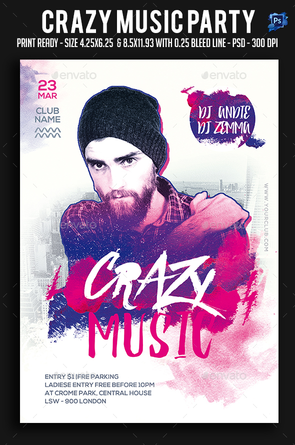 Crazy Music Party Flyer - Clubs & Parties Events