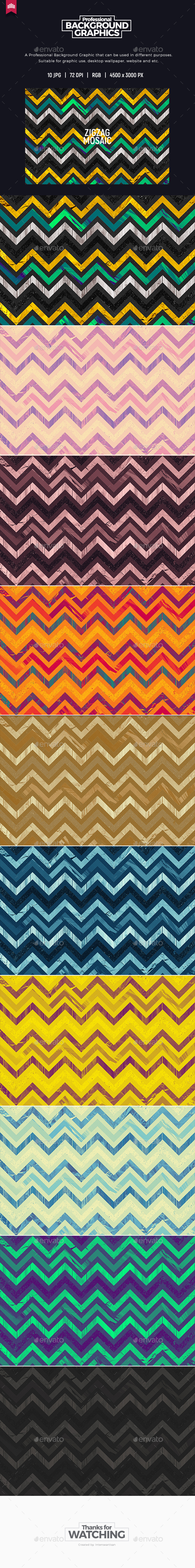 Zigzag Mosaic Background - Patterns Backgrounds