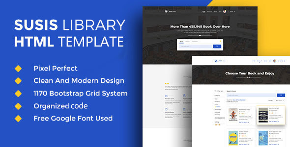 Susis Library & Book Showcase HTML5 Template - Corporate Landing Pages