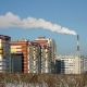 Smoke From the Chimney of the Plant on the Residential Area. The Urban Ecology.