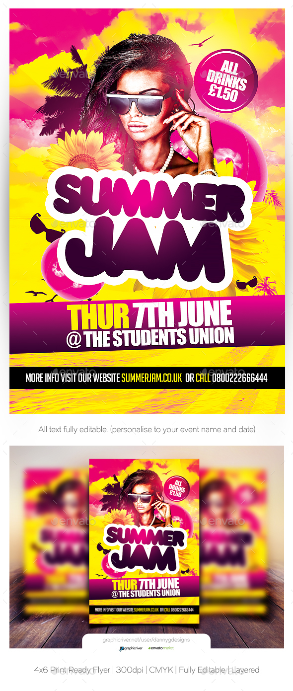 Summer Jam Flyer Template - Clubs & Parties Events