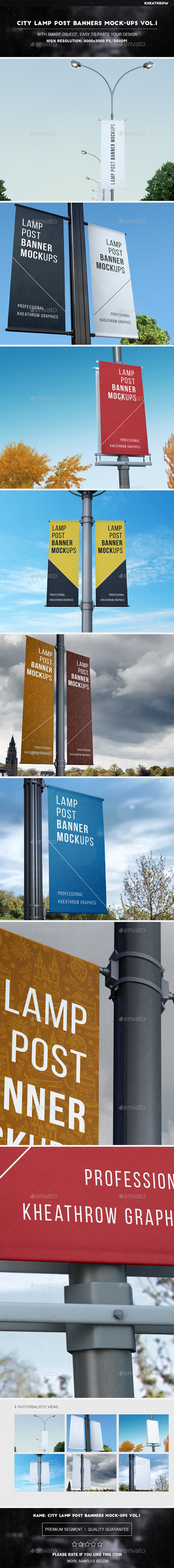 City Lamp Post Banners Mock-Ups Vol.1 - Product Mock-Ups Graphics