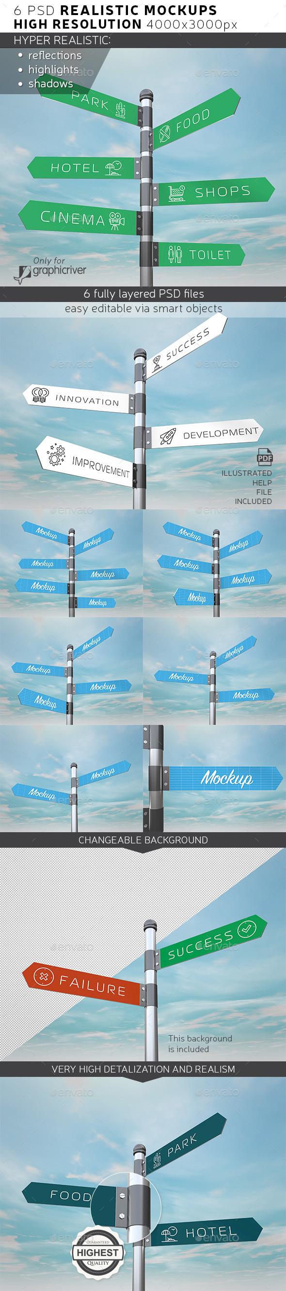 Signpost / Guidepost Mockup - Product Mock-Ups Graphics