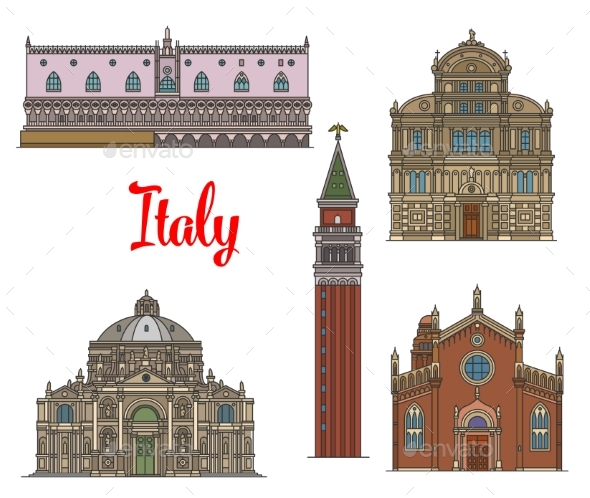 Italian Travel Landmarks of Venice Linear Icon Set - Buildings Objects