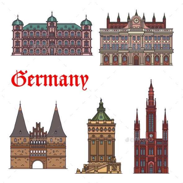 German Tourist Sight and Travel Landmark Icon Set - Buildings Objects