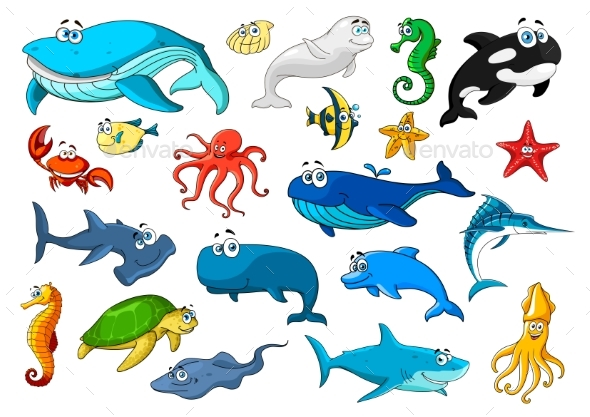 Marine Animal Isolated Cartoon Icon Set - Animals Characters