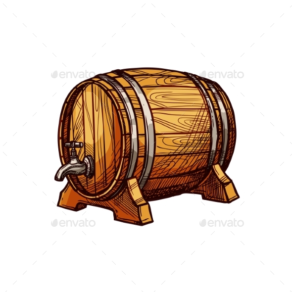 Wooden Barrel Sketch for Alcohol Drink Design - Food Objects