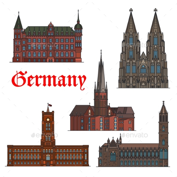 German Architectural Travel Landmark Icon Set - Buildings Objects