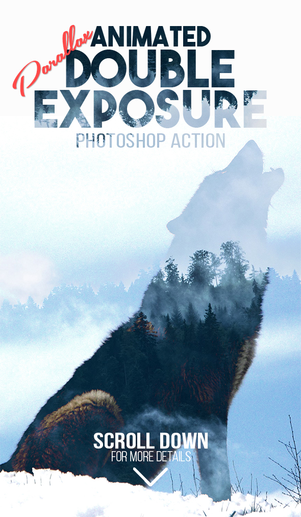 Animated Parallax Double Exposure Photoshop Action - Photo Effects Actions