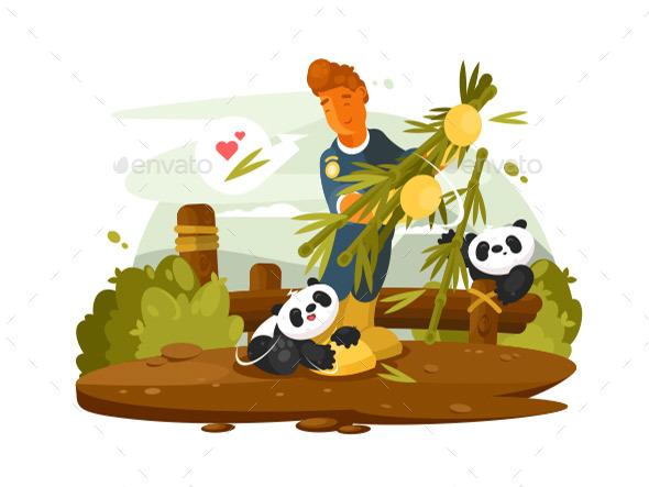 Zoo Worker Feeds Pandas - People Characters