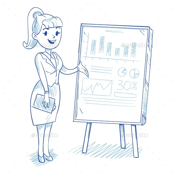 Businesswoman Presenting Business Company - People Characters