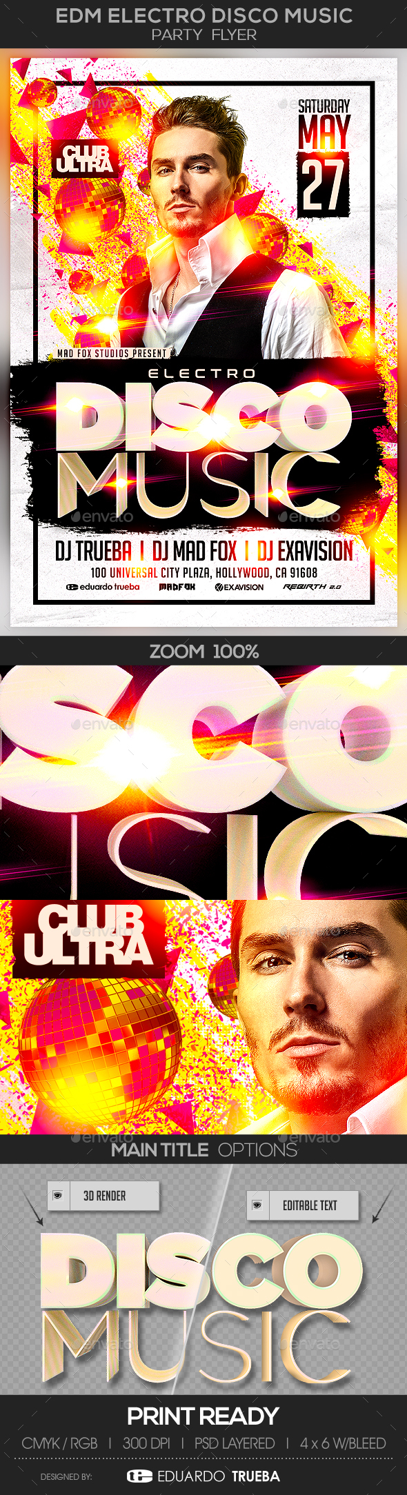 EDM Electro Disco Music Party Flyer - Clubs & Parties Events