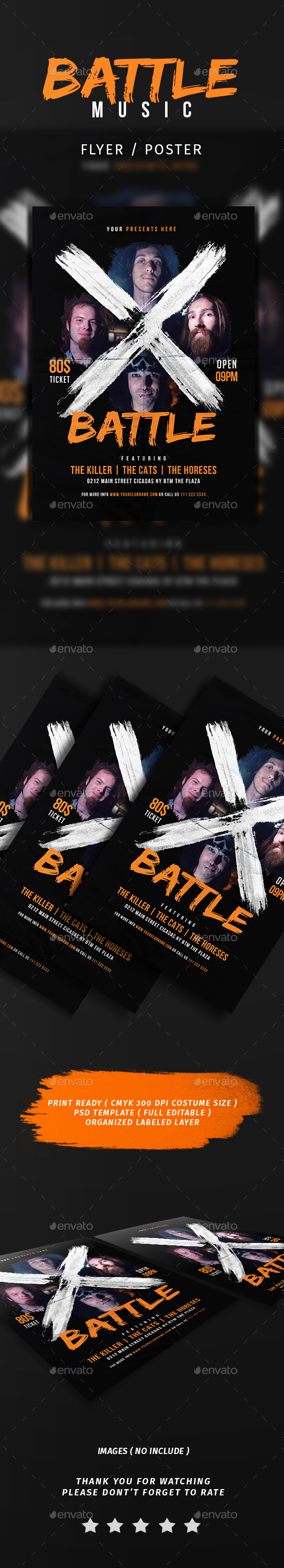X Battle Music Flyer - Events Flyers