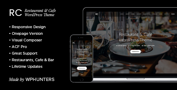 Rc - Restaurant & Cafe Onepage WordPress Theme - Restaurants & Cafes Entertainment
