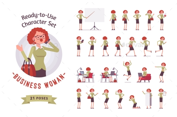 Ready-to-use Businesswoman Character Set - People Characters
