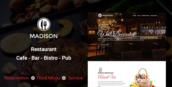 Madison WP - WordPress Restaurant Theme - Restaurants & Cafes Entertainment