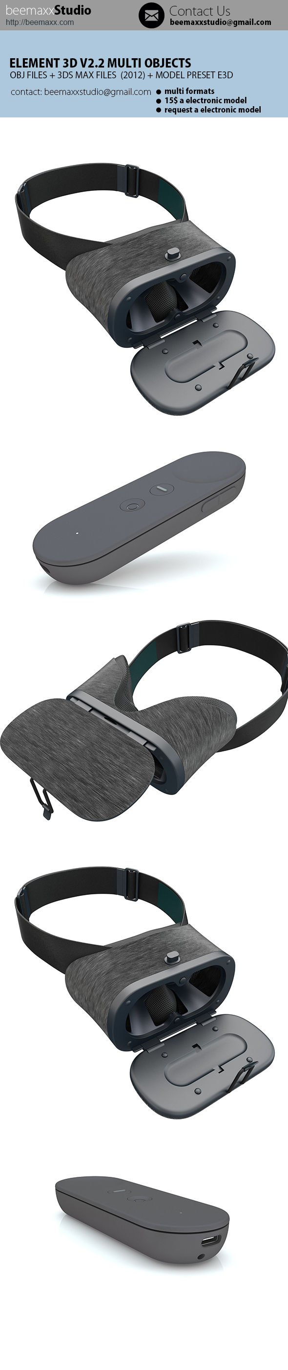 E3D - Google DayDream + Controller - 3DOcean Item for Sale