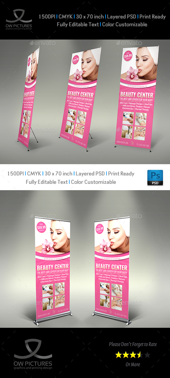 Beauty Center Signage Rollup Banner Template - Signage Print Templates