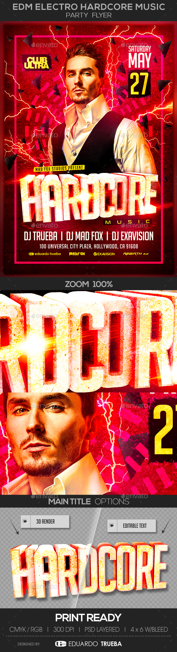 EDM Electro Hardcore Music Party Flyer - Clubs & Parties Events