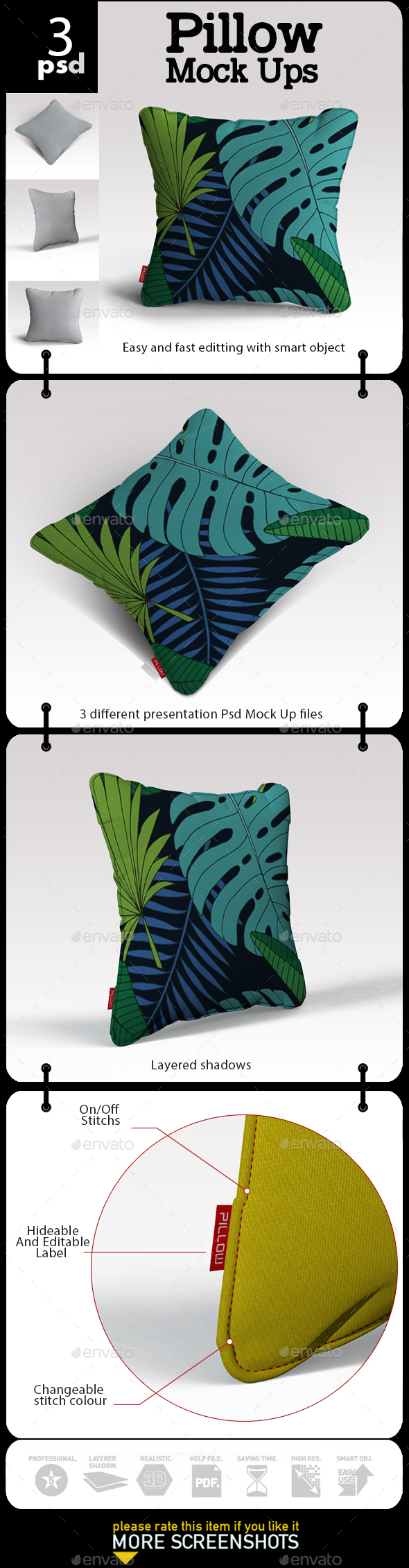 Pillow Mock Up - Product Mock-Ups Graphics