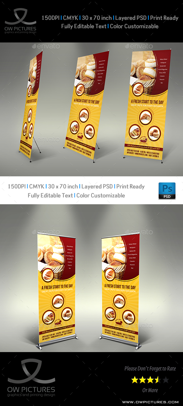 Bakery Signage Rollup Banner Template Vol.2 - Signage Print Templates