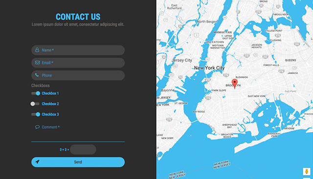 KONTAKTO Ajax Contact Form With Styled Map By Templum CodeCanyon - Bootstrap contact us page with map