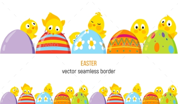 Easter Vector Border with Chicks and Eggs - Decorative Symbols Decorative