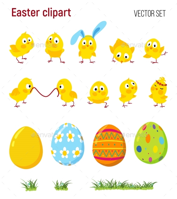 Set of Easter Clip Art with Chicks - Decorative Symbols Decorative
