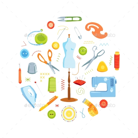 Sewing Tools Vector Round Concept - Backgrounds Decorative