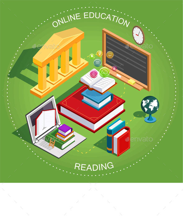 Online Education Isometric - Miscellaneous Conceptual
