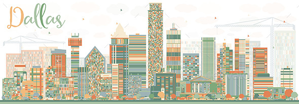 Abstract Dallas Skyline with Color Buildings - Buildings Objects