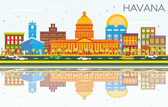 Havana Skyline with Color Buildings - Buildings Objects