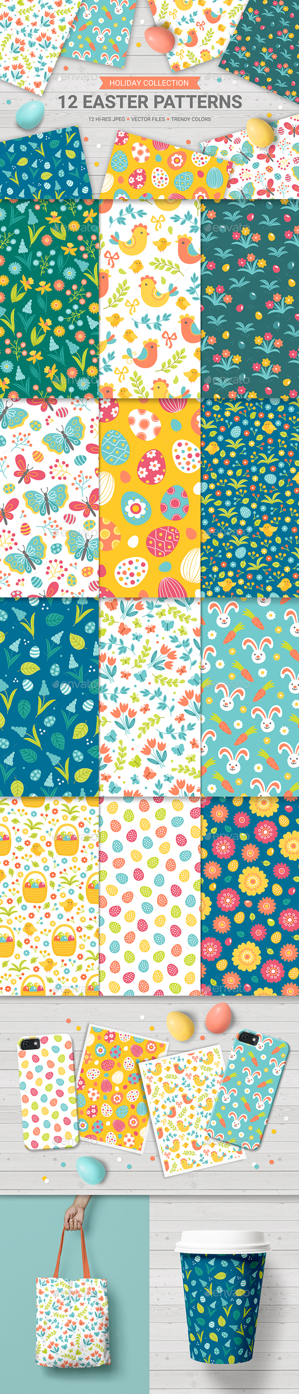 12 Easter Seamless Patterns - Miscellaneous Seasons/Holidays