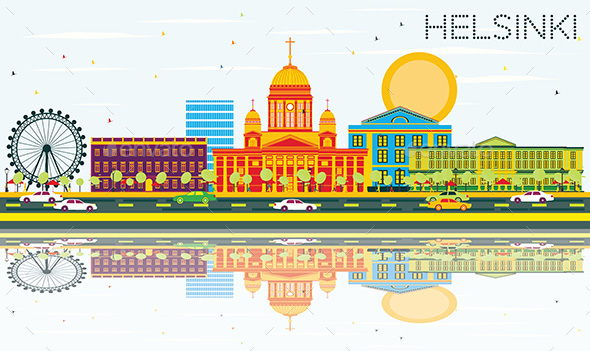 Helsinki Skyline with Color Buildings - Buildings Objects