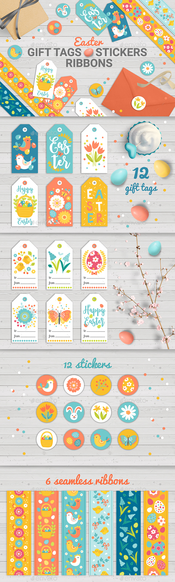 Easter Gift Tags with Sticker and, Tapes - Miscellaneous Seasons/Holidays