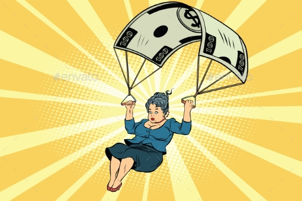 Woman Golden Parachute Financial Compensation - Concepts Business