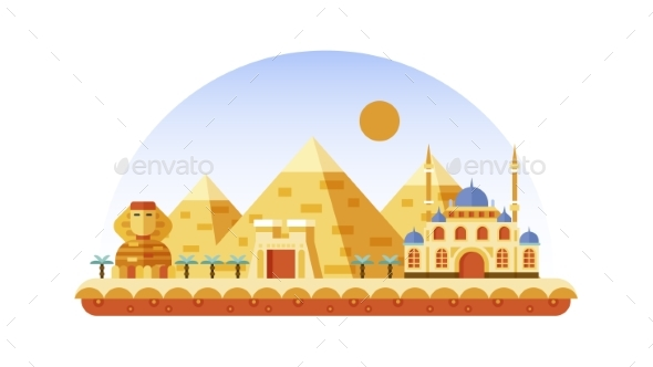 Egypt Icon in Flat Style - Decorative Symbols Decorative