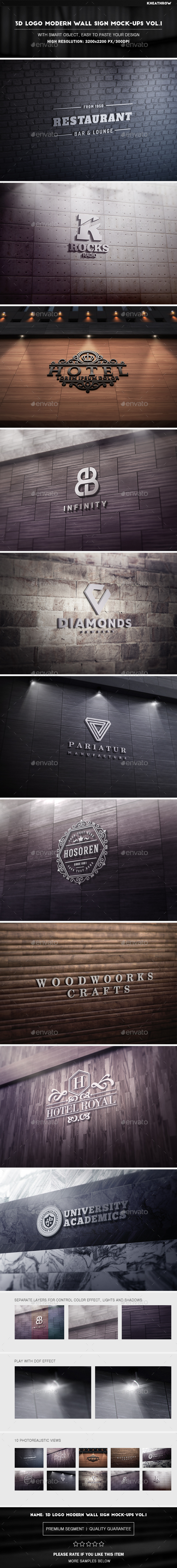 3D Logo Modern Wall Sign Mock-Ups Vol.1 - Product Mock-Ups Graphics