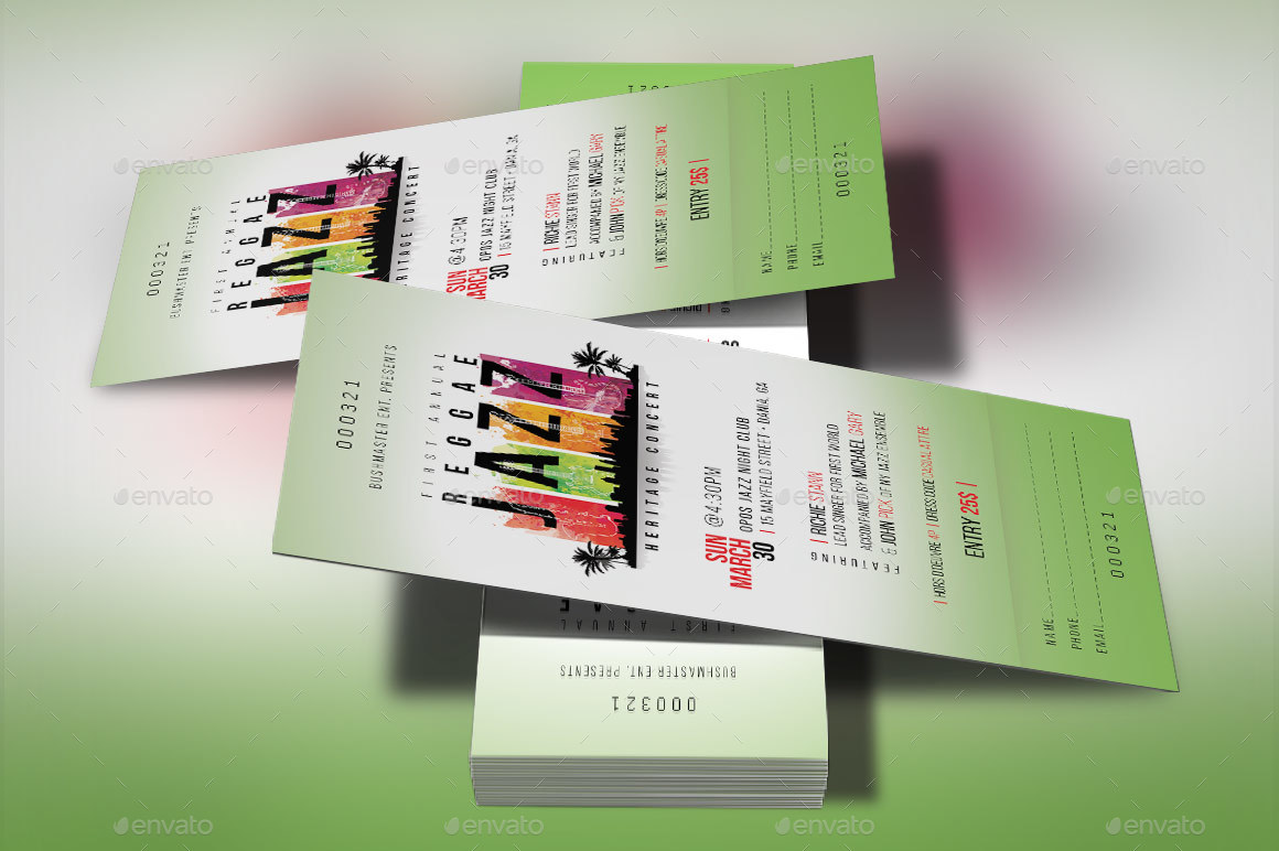 reggae jazz event ticket template by godserv2 graphicriver. Black Bedroom Furniture Sets. Home Design Ideas