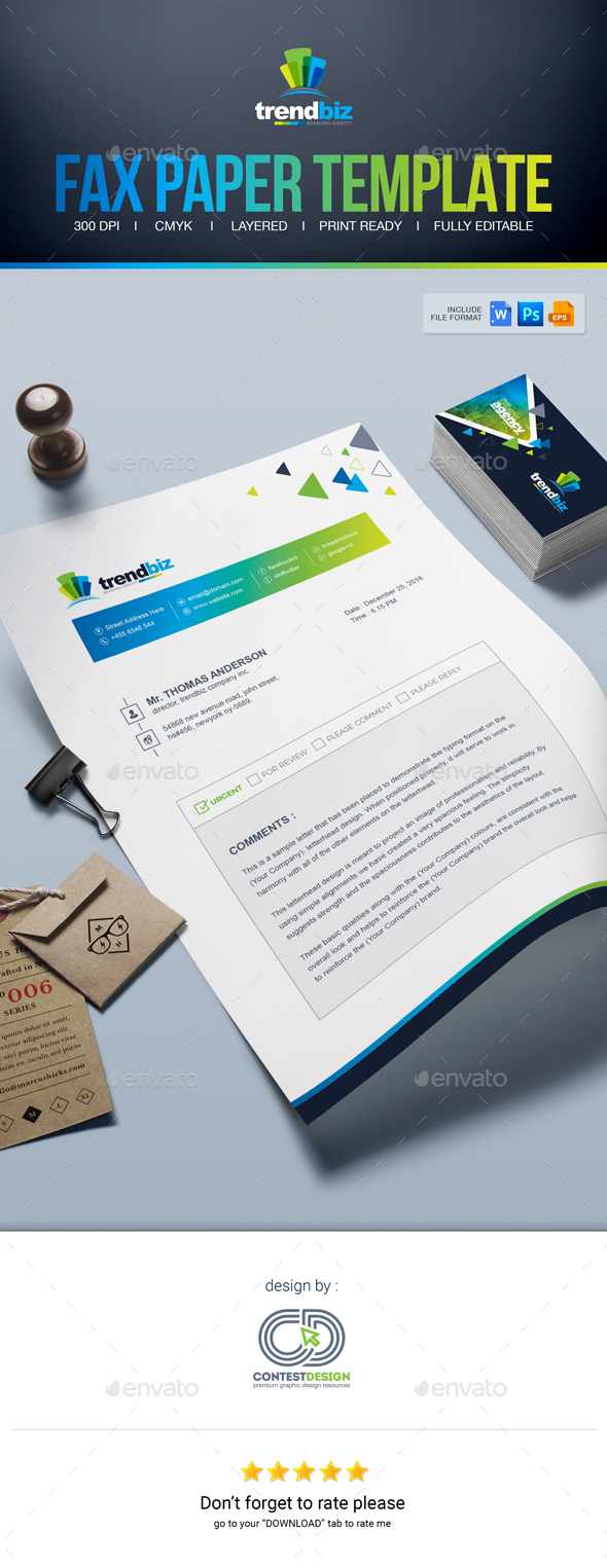 Fax Paper | Cover Sheet | Letterhead Design Template by ContestDesign