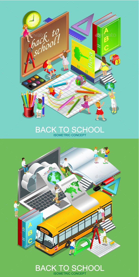 Back to School Isometric Concept - Miscellaneous Conceptual
