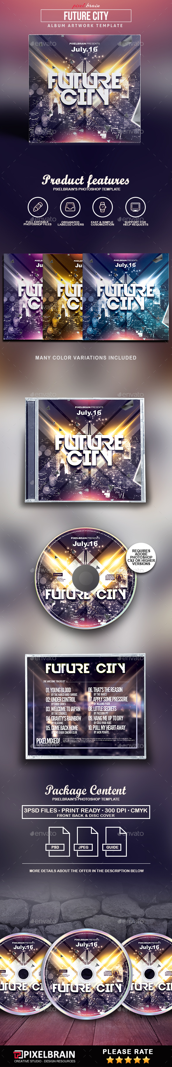 Future City CD Cover Artwork - CD & DVD Artwork Print Templates