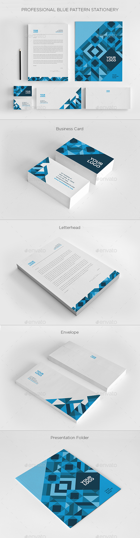 Professional Blue Pattern Stationery - Stationery Print Templates
