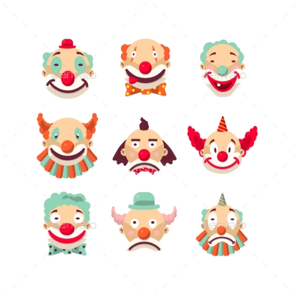 Clown Faces Vector Isolated Icons Set - Birthdays Seasons/Holidays