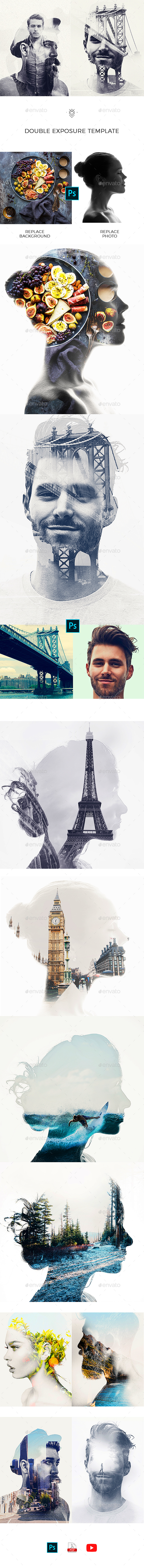 Double Exposure Template - Photo Templates Graphics