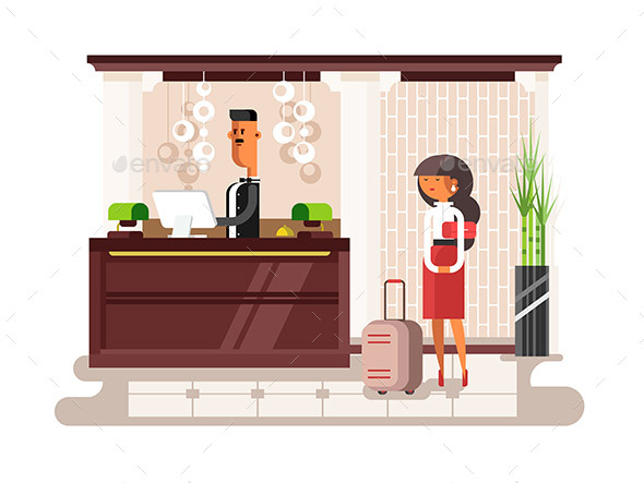 Lobby Hall Hotel Illustration - People Characters