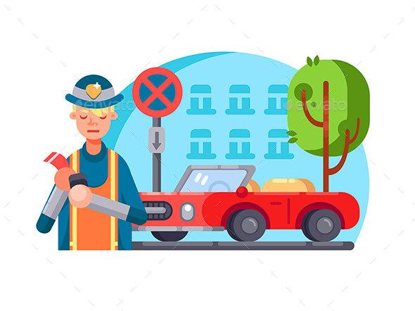 Patrol Policeman Writes Fine - People Characters