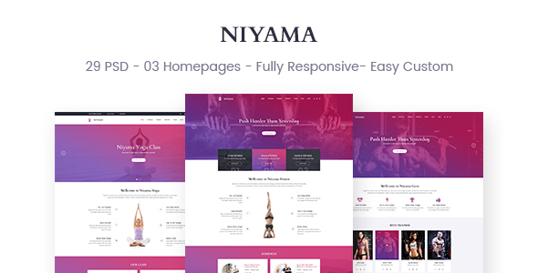 Niyama | Multipurpose Yoga & Gym, Dance Psd Templates